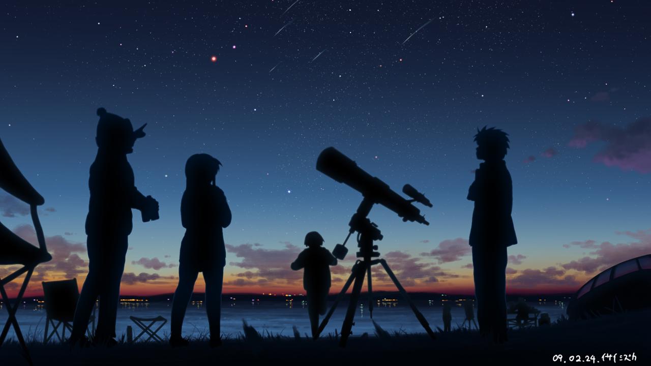 Фигуры на фоне звездного неба