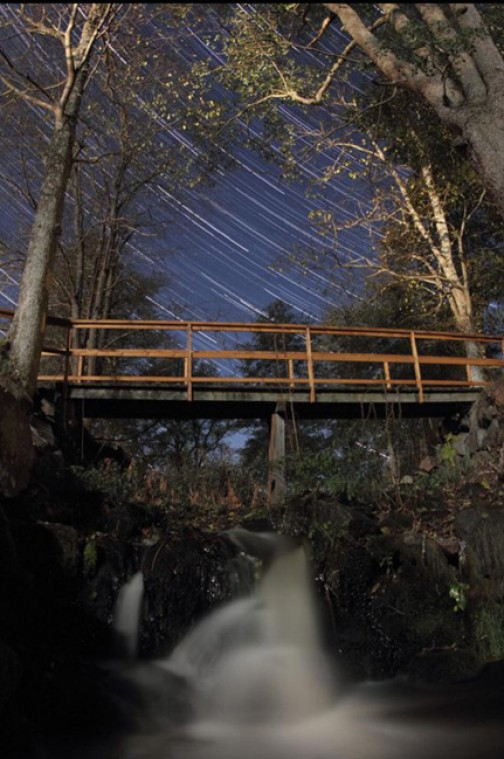 Startrails moonlit waterfall